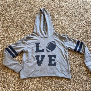 Lightweight cropped football hoodie